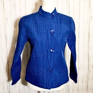 Analogy Blue Quilted Button Front Jacket Like New